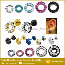 316L Surgical Stainless Steel Multi-Rhinestone Jeweled Fake Plugs Piercings