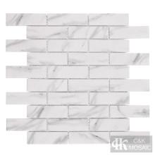 Impresión de azulejo de pared de metro de mosaico de vidrio blanco