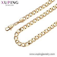 44290 xuping fio de seda simples correntes de latão colar de ouro falso cheio de jóias para amostra grátis