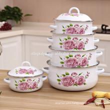 5pcs porcelain enamel hot pot with decal best seller in vietnam 18/20/22/24/26cm size