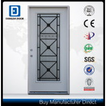 Prehung Steel Door in Wrought Iron Outdoor with Tempered Glass