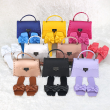 2021 Fashion New Trend Pvc Portable crossbody Handbag Jelly Rivet Bag With Slippers Set For Ladies shoes matching purse