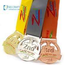 Unique design custom metal soft enamel gold silver copper plating marathon running medal for sports event