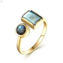 18K Gold S925 Sterling Silber Rechteck Edelstein Manschette natürlichen Labradorit Ring