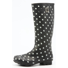 Black Women's Rubber Rain Boots With White Dot