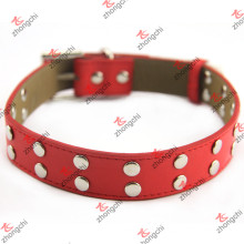 Red Rivet Leather Pet Collar Wholesale (PC15121406)