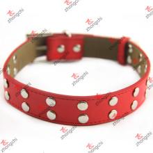 Red Rivet Leather Pet Collar Atacado (PC15121406)