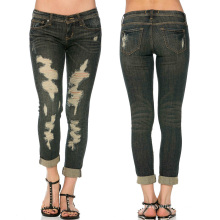Women Denim Skinny Pants Ripped Hole Stretch Fashion Jeans