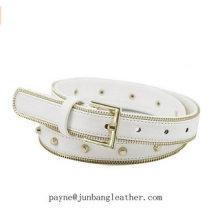 Skinny White Zipper Ladies PU Belts