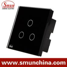 БС 3 банды Сенсорный настенный Выключатель, пульт дистанционного управления розетки 1500 Вт 110-220В 16А