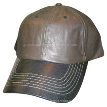 Mens Classics Brown Leather Cap with Black Visor