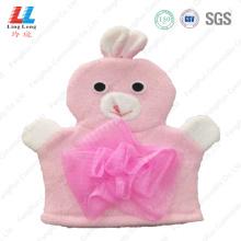 Pink rabbit animal bath gloves