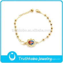 TKB-JB0088 Christ hot sell polished gold rosaries beads chain with Jesus 316L stainless steel bracelets for holy saint