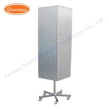 loja de varejo 4 sideds placa produto metal rotativo painel de piso giratório suporte de exposição com rodas