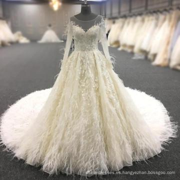 2018 vestido de novia de lujo vestido de novia Crystal A-Line vestido de novia con pieles