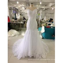 Fußbodenlänge weißes Hochzeits-Kleid mit dünnen Bügeln