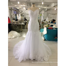 Floor Length White Wedding Dress with Thin Straps
