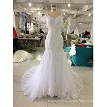 Длина пола белое свадебное платье с тонкими Бретельками