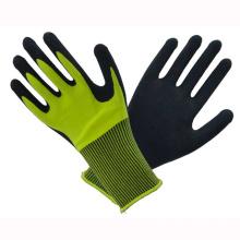 Amarillo 10t Fluorescencia guantes revestidos de látex