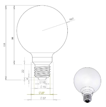 LED Filament Lamp G80 2W E27
