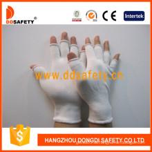 13 Gauge White Nylon Halbe Fingerhandschuhe, Antistatisch (DCH122)