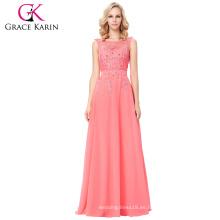 Grace Karin nuevos colores sin mangas V-Back largo vestido de noche de gasa vestidos de noche CL007555-7