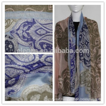 100% Rayon Pink and Navy Printed Long Scarf
