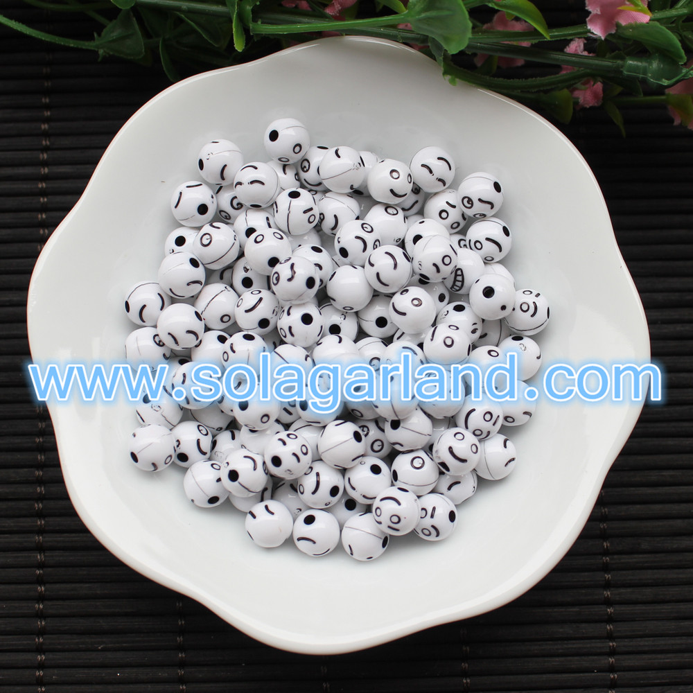 8MM Round Smilling Face Beads