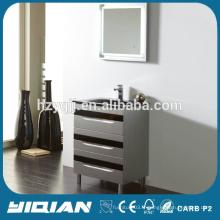 Design de plancher en plastique moderne étanche meuble de salle de bains avec miroir