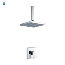 KI-10 accesorios de hardware de baño de una sola manija profesional cromada cabeza de ducha de lluvia de cobre sólido