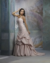 Ball Gown One-shoulder Satin Chapel Train Beading Ruffled Wedding Dress