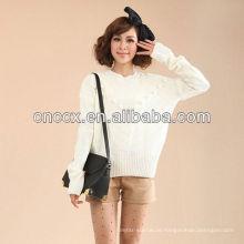 12STC0616 üppige Damen einfache weiße Pullover
