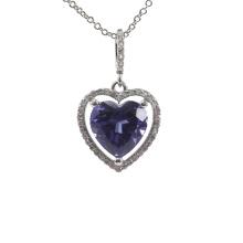 Silver Love Heart Amethyst Purple Stone Pendant