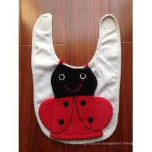 Fabricante de babero de bebé de jersey de algodón con soporte para biberón de gato de dibujos animados de felpa