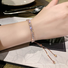 Stainless Steel Adjustable Rose Gold Iced Out Diamond Cubic Zirconia Tennis Bracelet