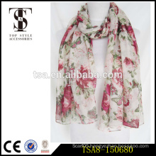 floral and butterfly printed long polyester scarves lightweight voile colorful scarf                                                                         Quality Choice