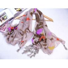 Online-Feder gedruckt Großhandel Schal mit schönen Quasten