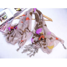Online feather printed wholesale scarf with nice tassels