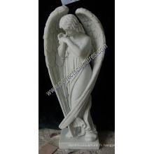 Statue d'ange en granit de marbre pour la tombe du monument de la pierre tombale du cimetière (SY-X1539)