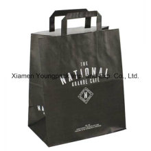 Custom Printed Flat Handle Takeaway Kraft Paper Bag