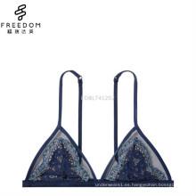 China imágenes personalizadas y al por mayor de chica caliente encaje transparente decorado típico triángulo último sujetador atractivo de la manera