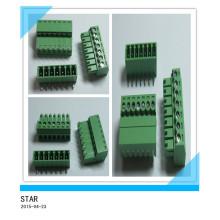 Connecteur de bornier à vis enfichable à vis enfichable vert de type Pin / Way de 7,3 mm