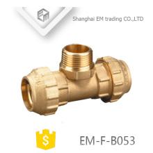 EM-F-B053 Espanha Tee dupla Compressão conectar e rosca macho conectar latão Encaixe de Tubulação