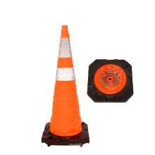 Orange Foldable Collapsible Reflective Safety Traffic Cone with Flashing LED Light