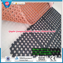 Interlocking Rubber Mat, Circular Hole Rubber Mat Acid Resistant Rubber Mat