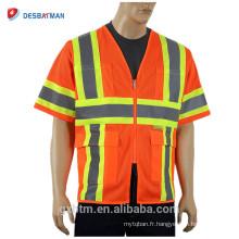 Vente chaude Fluorescent Haute Visibilité Sécurité Trafic Vêtements de Travail Maille Réfléchissant Géomètre Construction Gilet De Sécurité