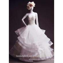 Astergarde sereia ruffle Vestido de noiva sem alças Fan plissada Tribunal vestido de noiva comboio TS146