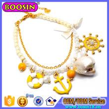 Ouro banhado a jóia da marinha âncora e pulseira de charme de roda
