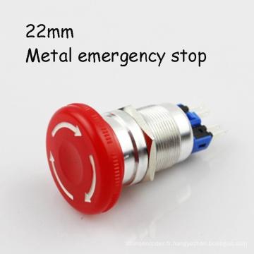 PS22-F4r1 Interrupteur d'arrêt d'urgence en métal pour champignon
