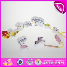 Juguete animal de la secuencia de madera de DIY para los cabritos, Juguete animal de la secuencia de madera del juguete para los niños, Juguete animal divertido de la secuencia de madera para el bebé W05b073